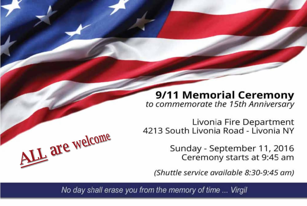 9/11 Memorial Ceremony to commemorate the 15th Anniversary - Public is invited ... all are welcome